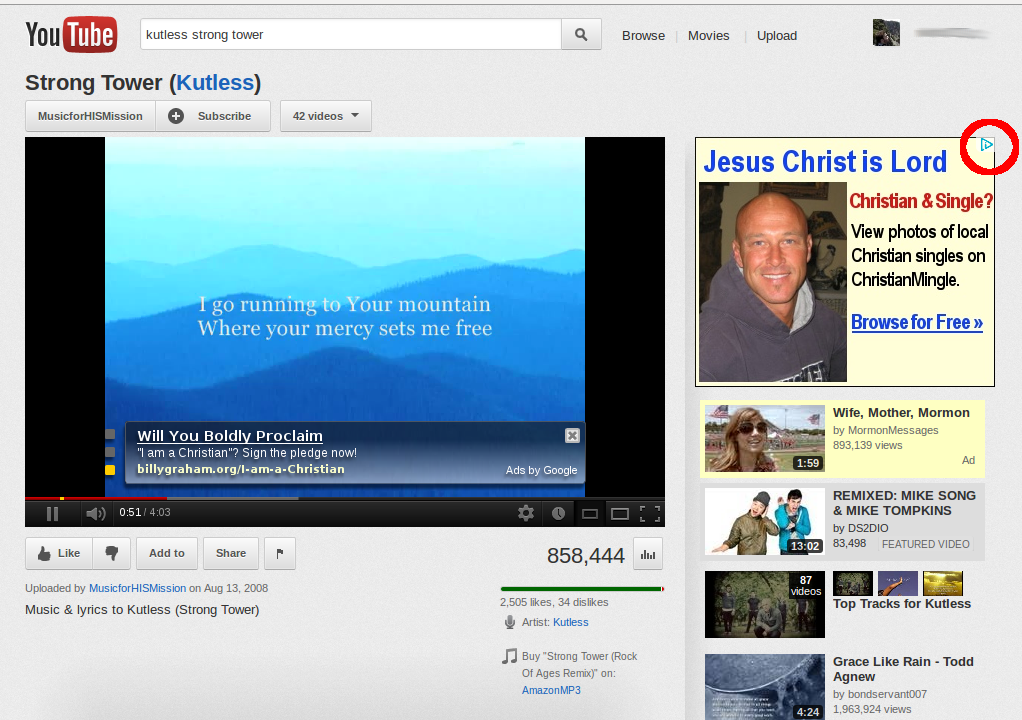 An AdSense ad about dating, based on religion, while watching a video-clip from a popular Christian band